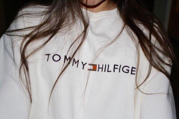 shirt white sweatshirt sweater cream tommy hilfiger crewneck tommy hilfiger crop top
