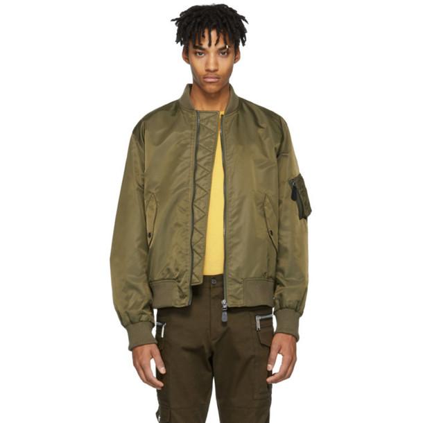 Yves Salomon Green Fur-Lined Bomber Jacket