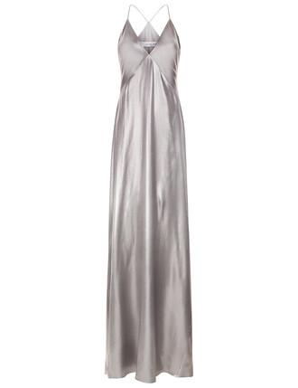 gown spaghetti strap silver dress