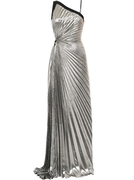 MUGLER gown pleated women silk grey metallic dress