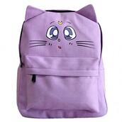 bag,lilac,fashion,cool,sailor moon,anime,teenagers,summer,backpack,back to school,boogzel