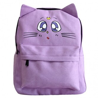 bag lilac fashion cool sailor moon anime teenagers summer backpack back to school boogzel