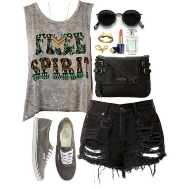 shirt indie aztec shorts black free spirit bag