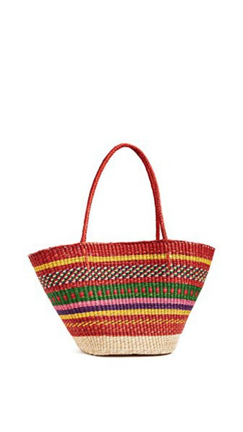 multicolor red bag