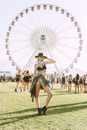 sarah loven,ready gypset go,blogger,sunglasses,bag,jewels,coachella,bralette,black hat,gold,short shorts,green jacket,black boots