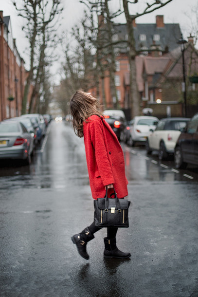 a cup of style blogger black boots black bag red coat coat sweater pants bag shoes