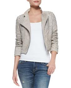 Alice   Olivia Jace Bead-Embellished Leather Moto Jacket