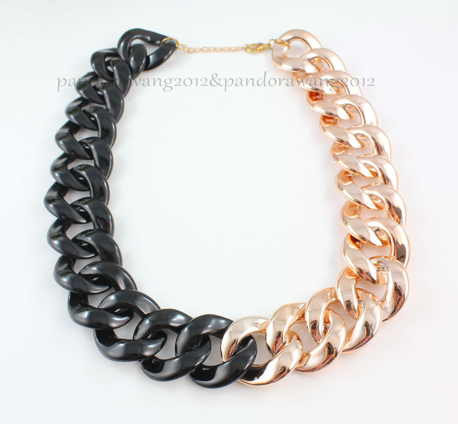 Fashion Black Gold Thick Chain Hollow Out Choker Necklace CCB Light Material | eBay