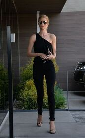 top,one shoulder,black,all black everything,rosie huntington-whiteley,sandals,sunglasses,All black  outfit