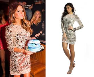 sequins silver dress sequin dress silver sequin dress bodycon dress mesh mesh dress long sleeve dress sherri hill