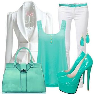 shoes teal heels turquoise high heels jacket tank top pants bag belt
