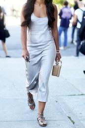 le fashion,blogger,silk,silk dress,silver shoes,slip satin dress,silk slip dress,sandals,flats,flat sandals