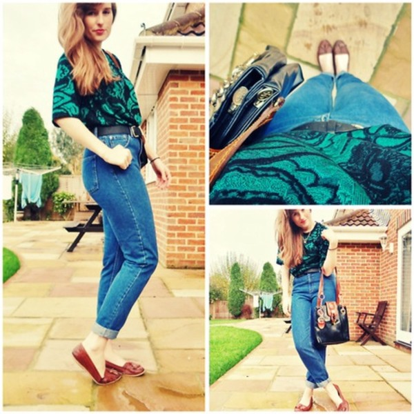 jeans high waisted jeans vintage 80s style blouse flats bag