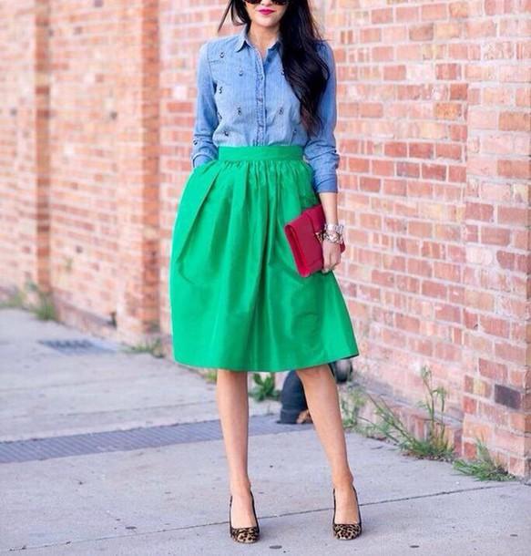 skirt green midi