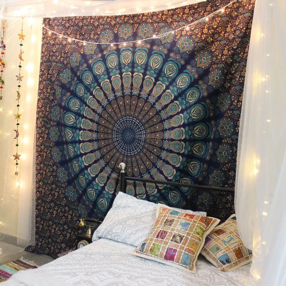 Queen Wall Tapestries Mandala Tapestry Indian Tapestry Wall Hanging Bohemian Tapestry Psychedelic Tapestry Boho bedding blanket Bedspread