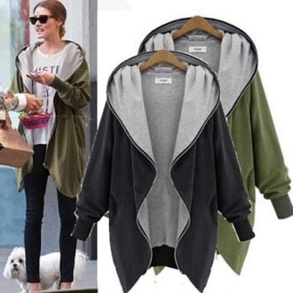 green jacket hoodie oversized olivia palermo grey khaki