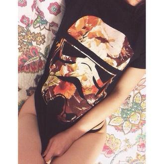 t-shirt floral star wars black pattern t-shirt