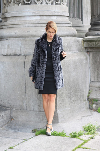 from brussels with love blogger coat dress shoes bag jewels fall outfits faux fur coat black dress clutch