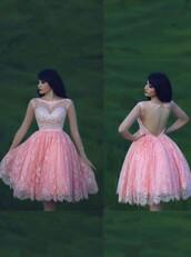 dress,2015 homecoming dress,party dress,lace homecoming dress,beaded dress,pink dress,homecoming dress