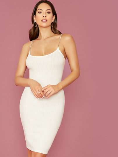Rib-knit Rhinestone Slip Bodycon Dress