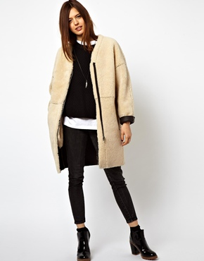 ASOS | ASOS Cocoon Zip Through Shearling Coat at ASOS