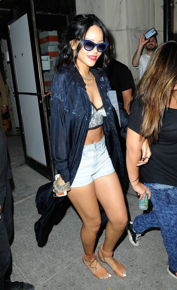 top rihanna bralet top sunglasses choker necklace jewels jacket shorts