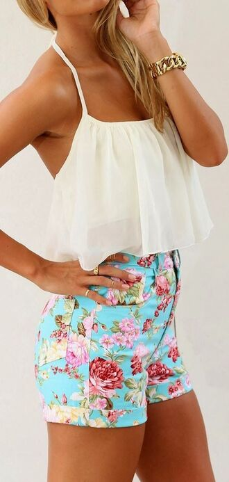 shorts blue floral tight denim high waisted shorts turquoise