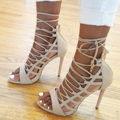 shoes,lace up heels,heels,taupe,nude heels,love,desperate,obsession,nude,lace,taupe heels,sandal heels,style,lace up,hot,prom shoes,high heels,white sandals,strappy heels