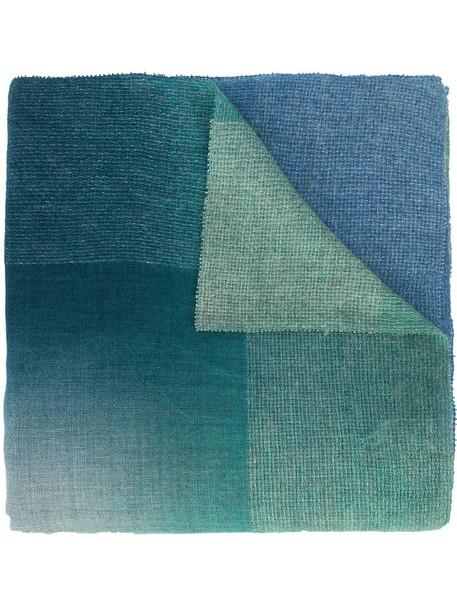 faliero sarti women scarf blue silk wool