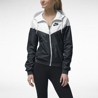 jacket nike white black windbreaker cute