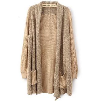 sweater wool cardigan coat fall outfits khaki casual long sleeves wool cardigan