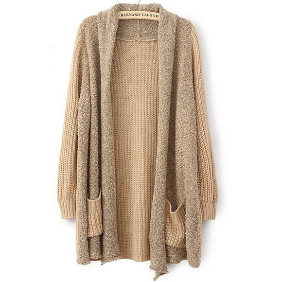 sweater wool cardigan coat long sleeves khaki casual fall outfits wool cardigan