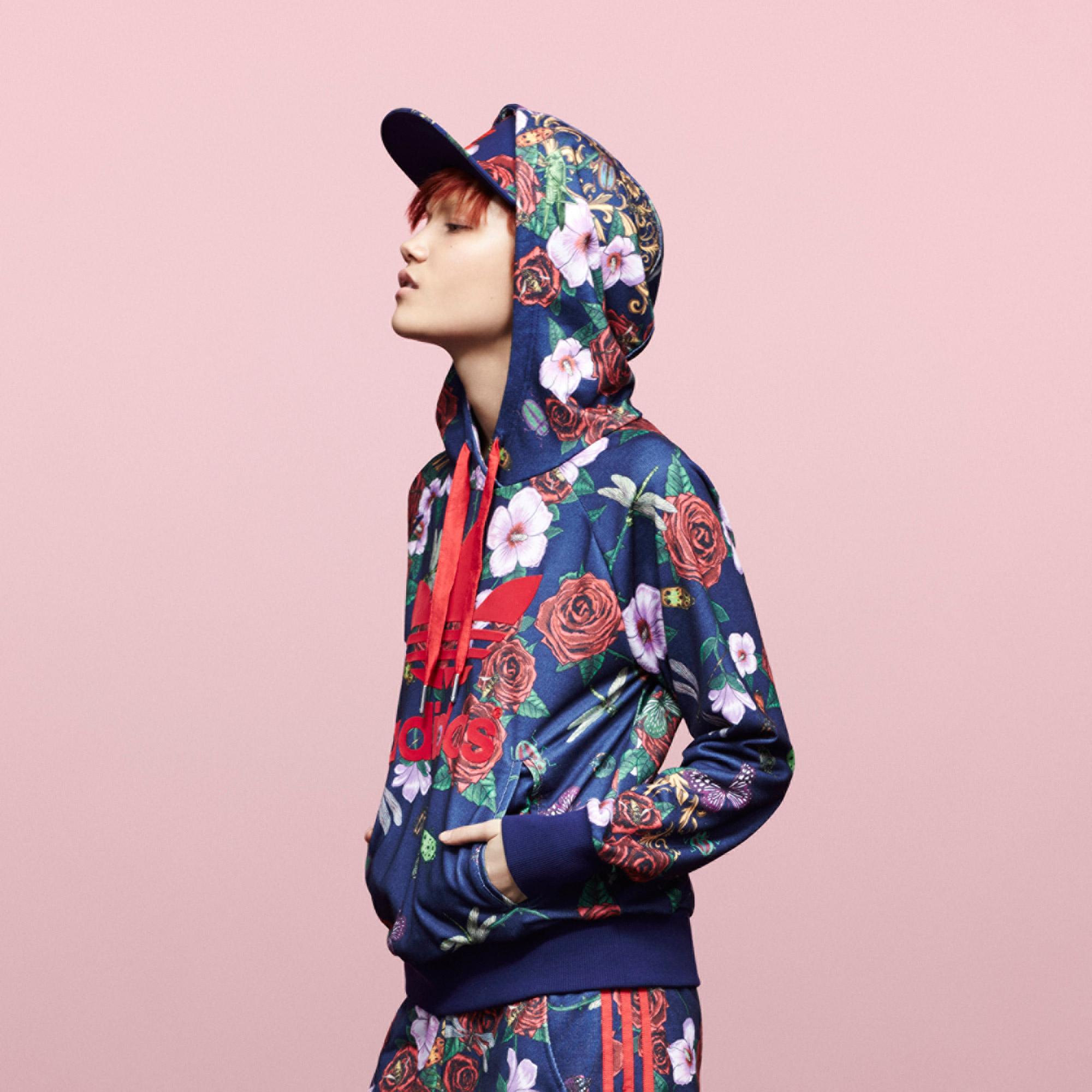 Adidas rita ora roses logo hoodie