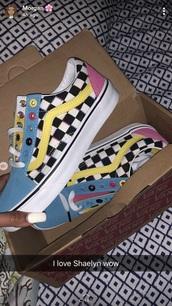 shoes,multicolor,vans,checkerboard