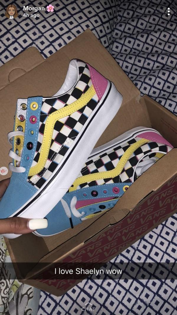 shoes multicolor vans checkerboard
