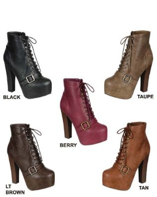 17 women's single strap lace up chunky high heel ankle boots: shoes