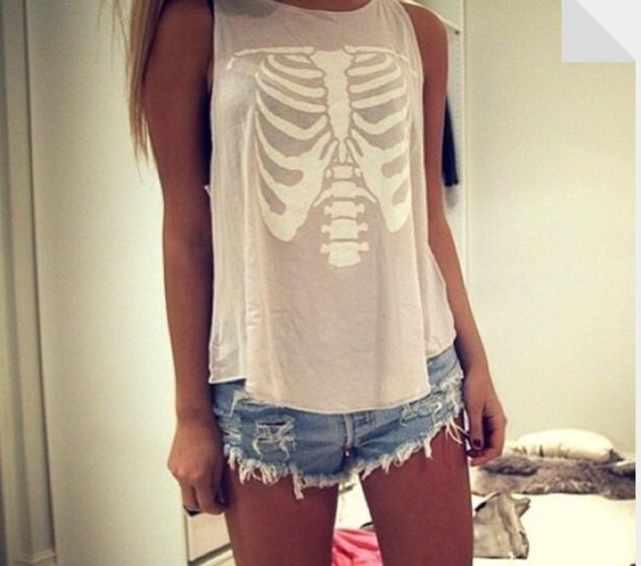 grey shirt shirt skeleton hipster muscle tee
