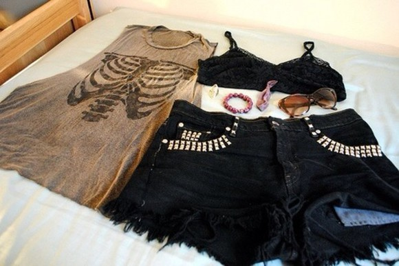 shorts shirt black shorts black lace grey skull skeleton tank top skeleton grunge black lace