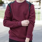 sweater,maniere de voir,satin,textured,jumper,oxblood,casual,fashion,trendy,style,menswear