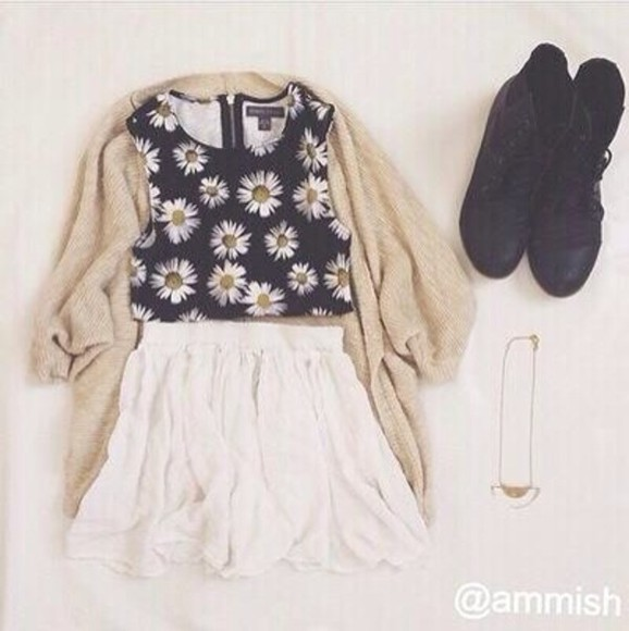tank top skirt sweater shoes