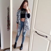 jeans,skinny jeans,denim,ripped jeans,jacket,grid,grid jacket,grid pattern jacket,blue jacket,baby blue,black crop top,crop tops,long sleeve crop top,edgy,swag,hipster,cute,cool,girl,summer,quote on it,clothes,top,boots,ankle boots,pants,gorgeous,women,stylish,style,trendy,tumblr outfit,tumblr top,tumblr jacket,tumblr,tumblr girl,tumblr clothes,beautiful,instagram,blogger,fashionista,chill,rad,cardigan,t-shirt,shirt,black,crop,long sleeves,coat
