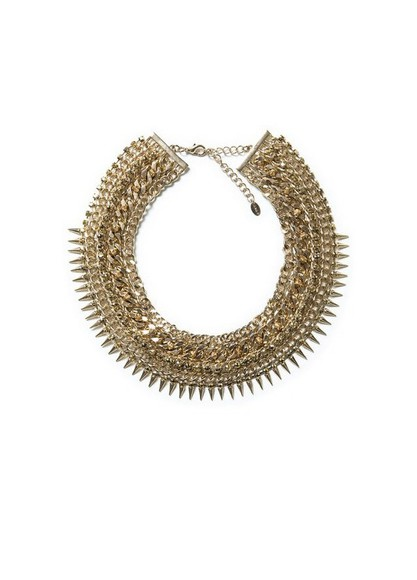 jewels necklace gold necklace gold statement necklace choker spikes studs zara dope as f***