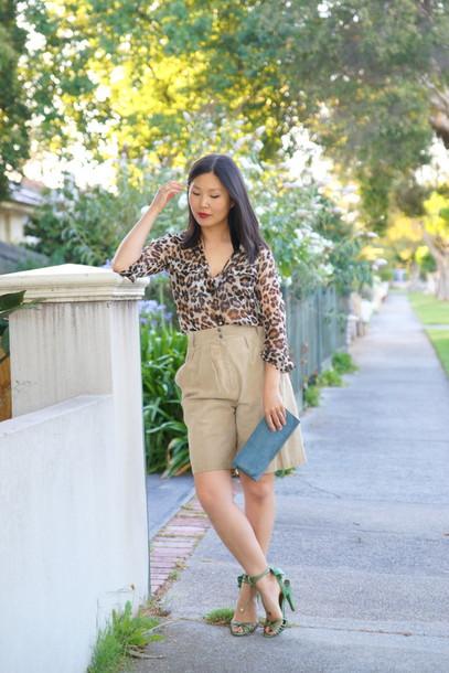 cecylia blogger culottes sandals blouse leopard print
