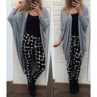 cardigan boho casual long cardigan trendy boho chic oversized cardigan grid checkered black streetwear chic rose wholesale casual chic fall outfits style lookbook
