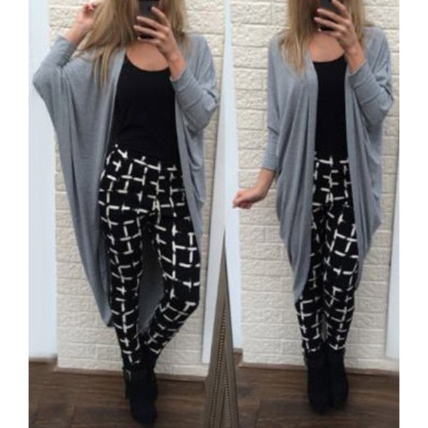 e5416147830 cardigan boho casual long cardigan trendy boho chic oversized cardigan grid  checkered black streetwear chic rose