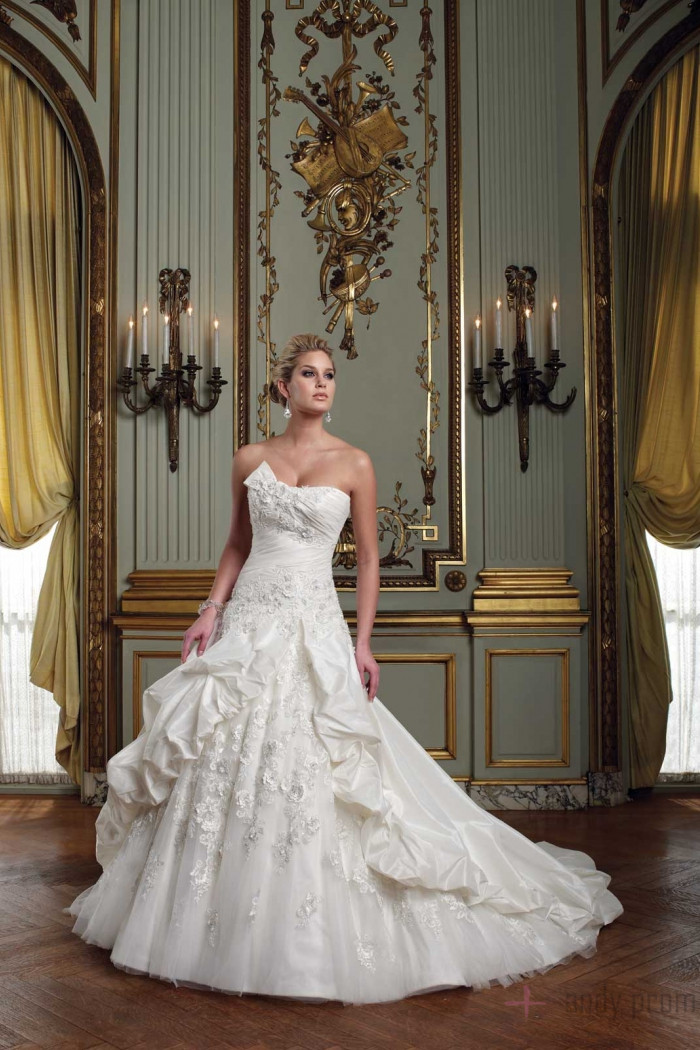 Ball gown pick up clamorous taffeta bowknot wedding dress