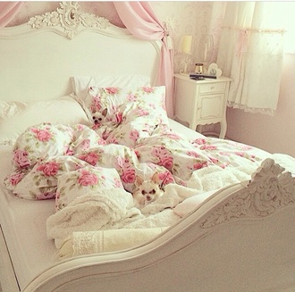home accessory bedding floral pastel pink pastel pink