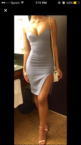 dress bodycon dress spaghetti dress strappy pastel blue blue dress strappy heels v neck dress party dress party nude nude high heels nude heels