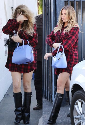 shoes boots shirt shirt dress khloe kardashian flannel