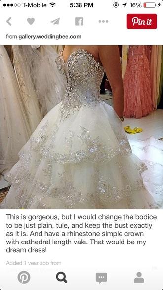 dress weddihg wedding white rhinestones gown prom love